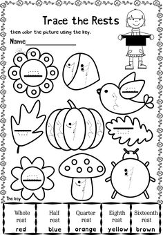 This set contains 20 Autumn themed trace and color music worksheets in two different formats pages in total). First kids trace music symbols, notes, rest and dynamics, then they color the picture using the key. All activities require no preparation Music Activities For Kids, Music Lessons For Kids, Music For Kids, Music Worksheets, Worksheets For Kids, Color Music, Easy Sheet Music, Music Symbols, Sheet Music