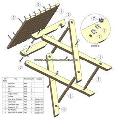 free folding picnic table plans - This would be great to make with reclaimed lumber Woodworking Toys, Woodworking Furniture, Woodworking Projects, Woodworking Classes, Woodworking Beginner, Woodworking Organization, Intarsia Woodworking, Woodworking Techniques, Folding Picnic Table Plans