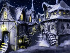 Painting fantasy house town winter snow wallpaper | 1600x1200 |