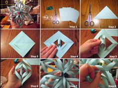 Snowflakes Step1: Needed material Step2: You will fold the paper in half forming a triangle. To work out your paper has to be square. With scissors cut the paper starting the part that has the fold and not completing till the end Step3: With the paper open, begin to assemble a petal of your snowflake Step4: Bring the ends together with glue or tape. Each couple has to be united in opposite direction Step5 & 6: You see, Its the same! Step7 & 8: Paste in each other and also paste in the end