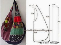¡¡ Moldes Moda por Medida: SACOS & DIVERSOS //Tons of bags with measurements on the images., How to sew a summer bag with his hands, This patterThis pattern may work for a jean BoHo bag, see picLove it, add some pockets and it is prefect hobo bag. Sewing Tutorials, Sewing Projects, Sewing Patterns, Patchwork Patterns, Patchwork Quilting, Purse Patterns, Hobo Bag Tutorials, Quilts, Bag Quilt
