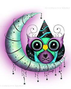 Sir Party Hoot  Fantasy Owl Open Edition 5 x 7 door concettasdesigns, $5.00