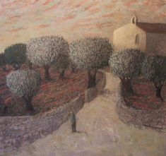 Red Figure and Olive Grove