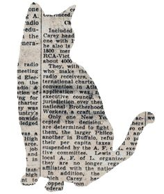 Newspaper shape art...and instead of a cat, use shapes or buildings. Place on solid color painted canvas and brush clear coat on top of finished piece.