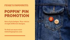 Feige's Pizza www.feigespizza.com #Branding #Pin #Button #Denim #Jacket #Graphic #Merch #Iron #Ham