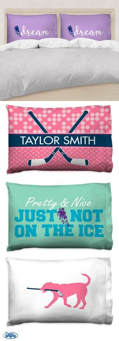 Our newest pillow cases will serve as the perfect touch of hockey spirit to any hockey girls bedroom! Choose from custom colors and personalized options for a special gift that she'll love! Hockey Gifts, Sports Gifts, Hockey Mom, Field Hockey, Hockey Stuff, Hockey Room Decor, Hockey Bedroom, Basketball Bedroom, Hockey Party
