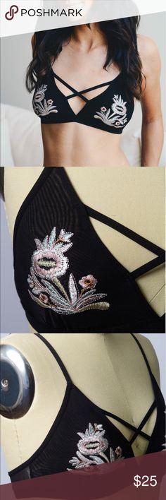 B R A L E T T E Floral Embroidery Patch Strap Bralette. 92% Nylon 8% Spandex. Comes in S, M, L. Cup Fit: S: 32B, 34A, 34B M: 34B, 36A, 36B L: 36B, 38A, 38B. 2 colors- black, nude Intimates & Sleepwear