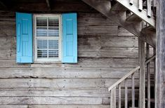 Grey Wood Wall With Blue Window Shutters - Canvas Print Window Shutters Exterior, House Shutters, Diy Exterior, Drawing Photoshop, Painting Shutters, Door Insulation, Window Replacement, Sound Proofing, Grey Wood