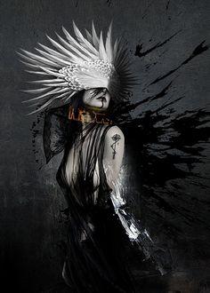 demon angel woman hell inferno guardian beautiful macabre horror feathers devil headdress