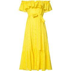 Lisa Marie Fernandez bardot frill dress (364.095 HUF) ❤ liked on Polyvore featuring dresses, vestidos, ruffle sleeve dress, tie waist dress, lemon dress, yellow dress and strapless ruffle dress