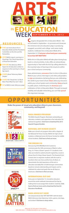 National Arts Education Week, September 9-15, 2012