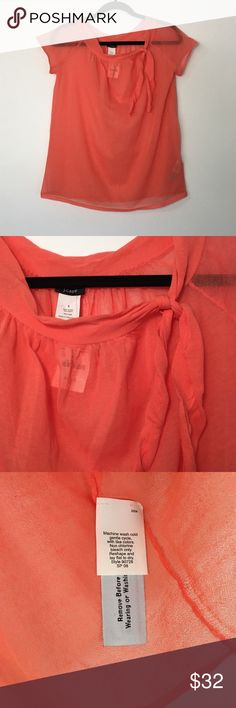 |66| J.CREW Sheer Top Beautiful salmon color looks flattering on all skin tones! Perfect with a white camisole underneath. Pairs great with slacks for the office or dress it down with a pair of dark skinny jeans! • size small • 82% cotton, 18% nylon • J. Crew Tops Blouses
