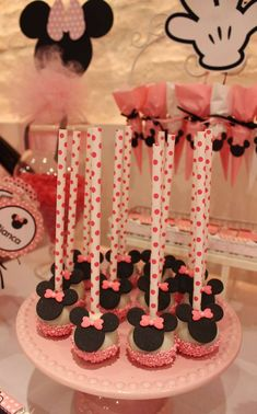 Cake pops at a Minnie Mouse birthday party! See more party ideas at CatchMyParty.com!