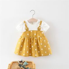 Baby Girl Rabbit Ears Design Faux-two Dotted Short-sleeve Dress Little Girl Outfits, Kids Outfits, Japonese Girl, Dress Anak, Stitching Dresses, Baby Skirt, Frocks For Girls, Princess Outfits, Matching Family Outfits