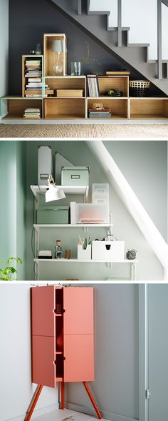 You don't need more space to store your stuff, you just have to be creative with the space you've got. Consider under the stairs, it's a natural winner at keeping clutter under control. A sloping ceiling might appear to spoil the possibilities. Fix a series of rails to take advantage of the different widths of an awkward space and attach shelves to fit. Corner cabinets turn a tricky space into something useful. A dainty cabinet takes up very little floorspace.