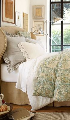 Beautiful Bed Linens -- via Pottery Barn   For the 3rd bedroom