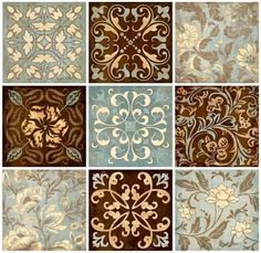 Venetian Tiles Wall Stickers - put them into matte frames for nice wall decor