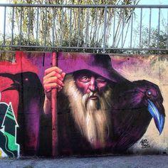 Harry Bones in Barcelona, Spain, 2017 Street Wall Art, Street Art Graffiti, Graffiti Murals, Mural Art, Amazing Street Art, Unusual Art, Outdoor Art, Street Artists, Cool Artwork