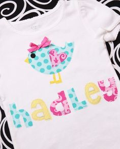Boutique Personalized Spring Baby Birdie Applique Tee Shirt or Onesie Applique Monogram, Embroidery Applique, Applique Ideas, Sewing For Kids, Baby Sewing, Sewing Crafts, Sewing Projects, Easter Crafts, Easter Ideas
