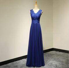 Elegant V-Neck A-Line Lace Appliques Long Evening Dress