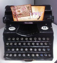 Vintage Typewriter. Made from chipboard with storage drawer.