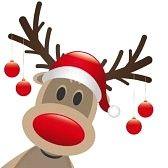 kerst rendier : rudolph rendieren rode neus hangen kerstballen Stock Photo