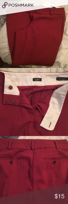 "Loft Julie: Skinny Ankle pant red! Size 8 Beautiful red ankle pants. 27"" inseam. Inside button and double hook & eye closure. Belt loops! Two front pockets. Two fake rear pockets. Excellent condition LOFT Pants Ankle & Cropped"
