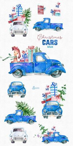 This Christmas Cars Blue set of 10 high quality hand painted watercolor graphics. Perfect graphic for Christmas project, greeting cards, photos, posters, quotes and more.  -----------------------------------------------------------------  INSTANT DOWNLOAD Once payment is cleared, you can