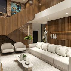 Residência A/L - Sala de TV/Estar . . . . . Móveis claros compõem esse ambiente social da casa, trazendo ar de Contemporâneo para o espaço e conforto para os seus moradores.  Projeto:@alexsandro.arq 3D:@alexsandro.arq Divider, 3d, Room, House, Furniture, Home Decor, Social Environment, Creature Comforts, Interiors