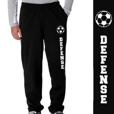 Soccer Defense Fleece Sweatpants Adult Small on Black ChalkTalkSPORTS Soccer Gear, Soccer Gifts, Play Soccer, Soccer Stuff, Outfits For Teens, Cute Outfits, Fc Dallas, Soccer Outfits, Soccer Quotes