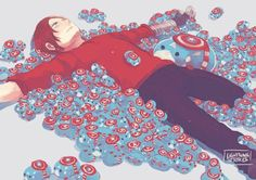 Clint discovers Marvel Tsum-Tsums and simply can't resist buying the entire stock of Cap Tsum-Tsums for Bucky