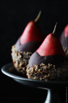 Chocolate Dipped Pears with Almond Crunch from Bakers Royale: Gorgeous black background. I needed to see this today for this week's @The Inspired Plate assignment!