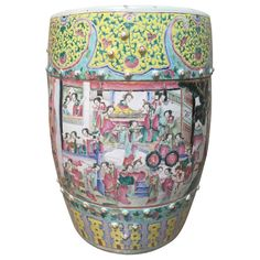 For Sale on - A century Chinese famille rose porcelain garden seat. Decorated with images of court ladies playing musical instruments and blossoming flowers and Art Furniture, Porcelain Vase, White Porcelain, Rose Vase, Chinese Ceramics, Garden Seating, White Gardens, Modern Ceramics, Garden Ornaments