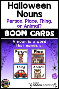 Looking for a fun Halloween Nouns activity that's easily used in the classroom or for remote learning? These digital Boom task cards are perfect for kindergarten, first grade