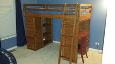 Bunk/Loft Beds for sale.  Beds are twin size and come with mattress for the top bed and mattress, box springs, and frame for bottom.  Base on one end is a desk with three drawers and corkboard wall, the other base has five drawers in the front and three bookshelves on the interior.  Asking $195.