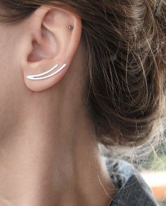 Ear climbers - ear cuffs - Sterling Silver Two Lines curved pins for the ear Single or Pair - Minimalist Ear crawlers