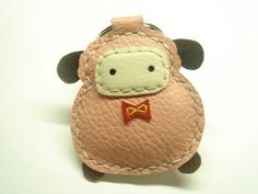 Lovely Sheep Leather keychain  Pink  by leatherprince on Etsy