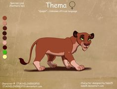 And here's another of the Rehema breedables! (Part of a line of adorable, so keep watching for more. ) This cub is the result of a breeding between 's M. Rehema X Mepenzi - cub for Lion King Names, Cubs, Scooby Doo, Find Art, Character Design, African, Disney Stuff, Animals, Fictional Characters