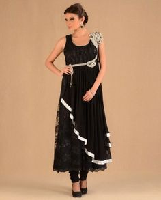 #Exclusivelyin, #IndianEthnicWear, #IndianWear, #Fashion, Black Lace & Crystal Suit Set By Regalia