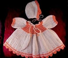 Antique vintage baby doll Dress and Hat 1940's  hand crocheted beige & crocheted