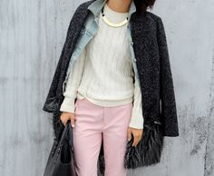 ...a cozy crew neck, a touch of gold, pale pink trousers, topped off with denim and a nubby charcoal gray jacket.