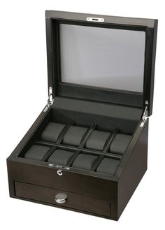 Volta Rustic Brown 8 Wood Watch Case With Extra Storage Compartment - Watch Box Co. - 1