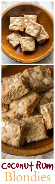 Chewy Coconut Rum Blondies with White Chocolate Chips and toasted Macadamia Nuts@ Saving room for Dessert (Best Brownies Coconut Sugar) Cookie Desserts, Fun Desserts, Cookie Recipes, Delicious Desserts, Coconut Desserts, Yummy Food, Best Dessert Recipes, Amazing Recipes, Bar Recipes