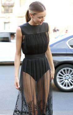 Miranda Kerr heading to the Shiatzy Chen Spring/Summer 2015 show in Paris.