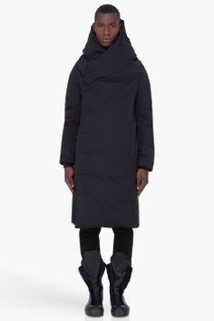 RICK OWENS Long Black Padded Wotan Coat