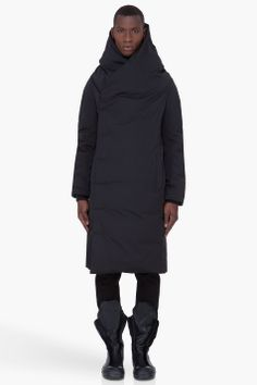 RICK OWENS Long Black Padded Wotan Coat