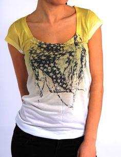 yellow/ white t-shirt. Love it!
