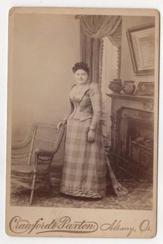 Welcome! Up for auction is a cabinet photo of a young woman in a Victorian plaid dress, posed standing with a chair, fancy backdrop. Photographers Crawford & Paxton, Albany, Oregon. Circa 1870s/1880s. The cabinet photo is in very good condition, has slight wear. The cabinet photo measures 4 1/4 x 6 1/2 inches. Shipping is $2.75 within the United States. Thanks for looking! | eBay!