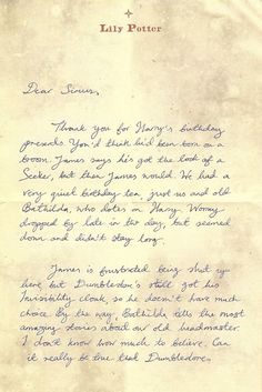 Lily's letter to Sirius