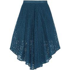 Tibi Hanae broderie anglaise cotton and silk-blend midi skirt ($285) ❤ liked on Polyvore featuring skirts, bottoms, saias, blue, high-waist skirt, blue skirt, tibi skirt, high-waisted skirts and blue high waisted skirt